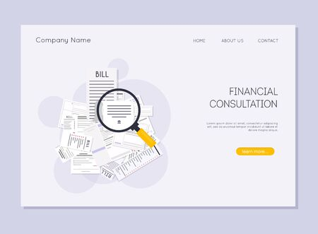 Financial consultation. Magnifying glass like check assess.  Paying bills. Ilustração