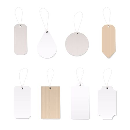 Set of blank gift box tags or sale shopping labels. Vintage blank craft organic white and brown price label tag vecor design template.
