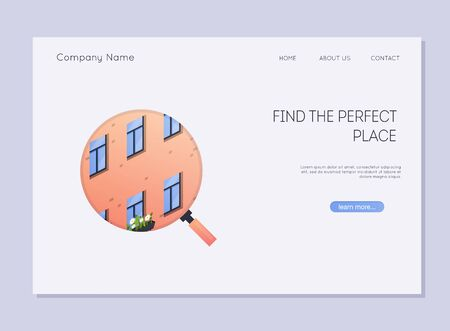 Homepage of rental service. Landing page with building facade illustration.