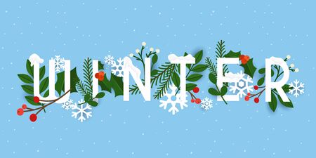 Winter. Leafs and snowflakes on the background. Flat design modern vector illustration concept.