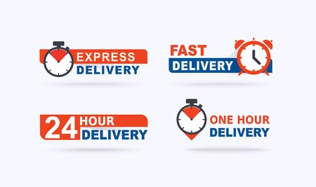 Set of fast delivery banners. Fast delivery, express and urgent shipping, services.