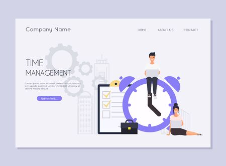 Effective time management concept.  Alarm clock rings on white background, concept of work time management.