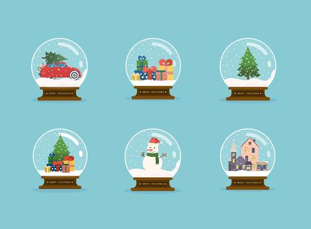 Set of merry christmas glass balls with christmas tree, snowman and gifts. Flat design modern vector illustration concept.