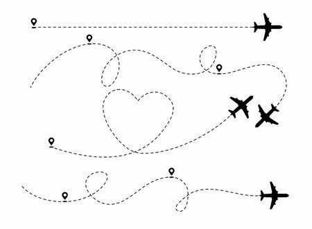 Set of planes path with location pins vector illustration. Heart dashed line trace and plane routes.