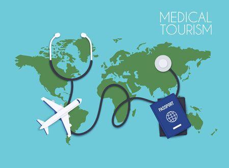 Medical tourism. Flat design modern vector illustration concept.