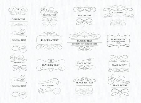 Calligraphic and page decoration design elements. Swirl, scroll and divider. . Golden design elements, page decoration.