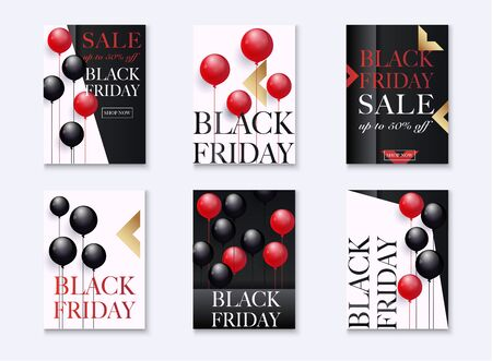 Black Friday Sale. Set of banners  with shiny balloons background as business , discount , promotion and Sale Poster concept.