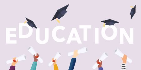 Education. Graduating students of pupil hands in gown throwing graduation caps. Hands holding diploma graduation. Flat design modern vector illustration concept.