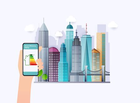 Hand holding phone with energy efficiency rating. Smart home. Flat design style vector illustration concept of smart house technology system with centralized control. City on a background. Ilustração