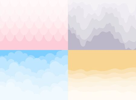 Set of different  background. Sky and Clouds, waves.  Stylish design with a flat poster, flyers, postcards, web banners.