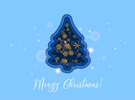 Merry Christmas.Golden glitter snowflakes on dark background. Can be used for decoration, banners and card.