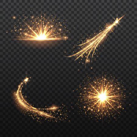 Set of transparent Golden Glow light effect. Copper lights effects. Sparkle and glitter. Vector illustration. Ilustração