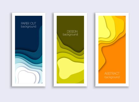 Set of 3 backgrounds with colorful paper cut shapes. 3D abstract paper art style, design layout for business presentation. Cover layout design template.