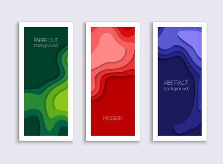 Set of 3 backgrounds with colorful paper cut shapes. 3D abstract paper art style, design layout for business presentation. Cover layout design template. Stockfoto - 133933210