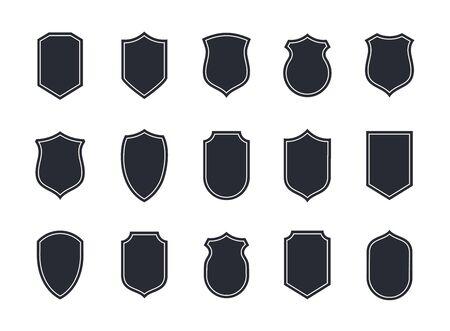 Shield blank emblems. Heraldic shields, security black labels. Knight award, medieval royal vintage badges isolated vector.  Ilustração