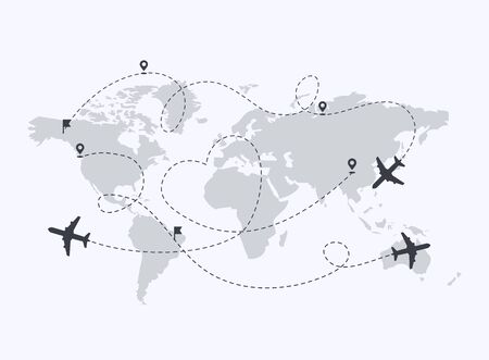 Set of planes path with location pins vector illustration. Map  a background. Heart dashed line trace and plane routes.