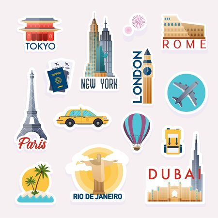 Set of vector travelling stickers. Stickers and elements set with landmarks of the world.