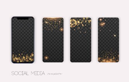 Stories Pack. Trendy editable template for social networks stories. Sparkle and glitter effects. Ilustração