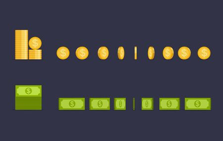Coin and dollars turn around, animation for game and apps. Money in different positions isolated.