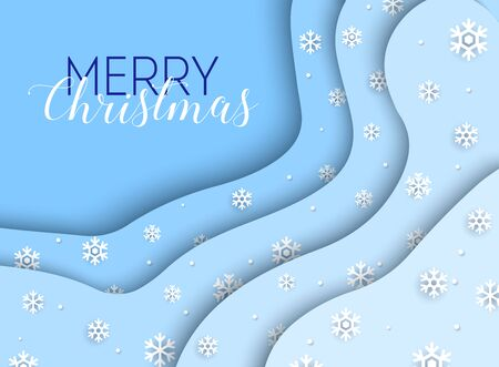 Merry Christmas. White snowflakes on a blue background. Can be used for decoration, banners and card.