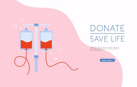 Donate blood bag on blue background. Background For World Blood Donor Day.