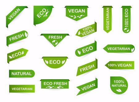 Vegan mark labels. Organic food labels. Fresh eco vegetarian products, vegan label and healthy foods badges.