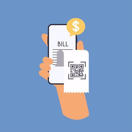 Smartphone receipt bill. Shopping cash bill slip, buying tax transaction service flat vector illustration. Ilustração