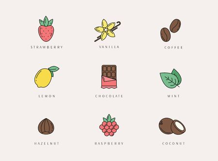Vector set of design elements, logo design template, icons and badges of different flavor.