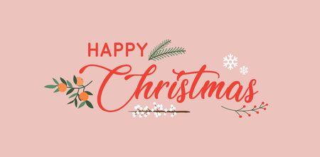 Hand drawn Happy Christmas typography poster.  Ilustração