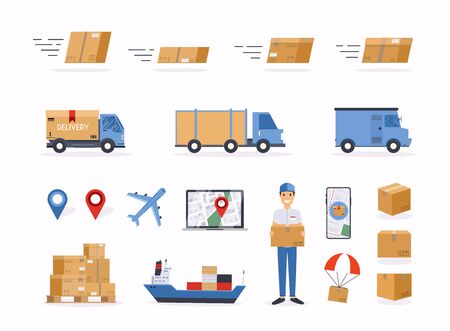 Set of shipping related vector objects.  Delivery man and track.