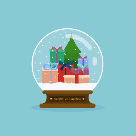 Merry christmas glass ball with christmas tree and gifts. Flat design modern vector illustration concept. Ilustração