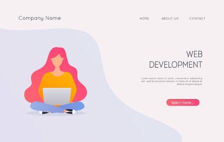 Web development concept. Can use for web banner, infographics, hero images. Flat design modern vector illustration concept.v Ilustração