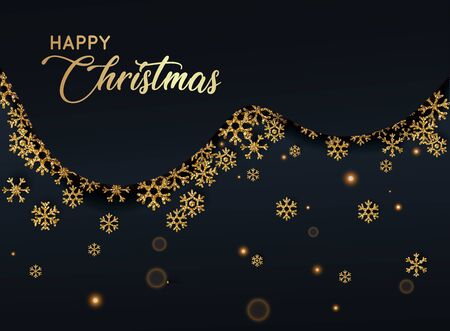 Merry Christmas. Golden glitter snowflakes on dark background. Can be used for decoration, banners and card.