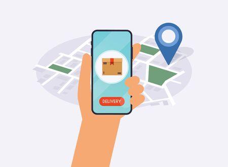 Hand holding mobile smart phone with app delivery tracking. Vector modern flat creative info graphics design on application. Ilustração