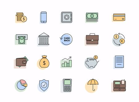 Set of money icons. Collection of high quality black outline logo for web site design and mobile apps.