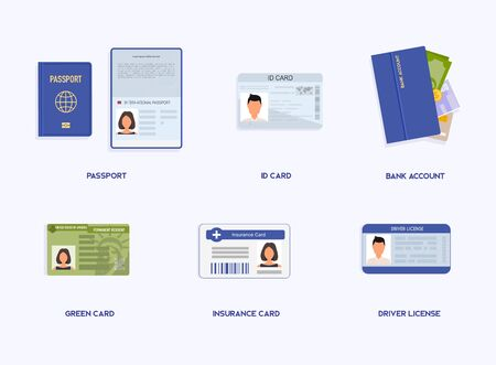 Set of Legal Documents.  ID cards, passport, student pass, migration certificate, legal contract illustration. Foto de archivo - 135383112