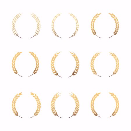 Collection of different gold silhouette circular laurel foliate.