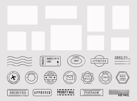 Satz Briefmarkensammlung und Poststempel. Vektor-Illustration. Vektorgrafik