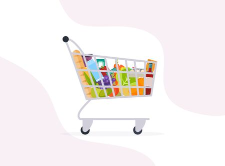 Supermarket shopping cart. Grocery full shopping cart icon. Foto de archivo - 138192960