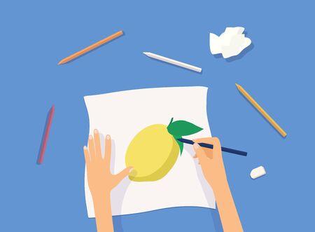 Hands painting on paper. Workshop concept. Vector illustration.