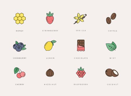 Vector set of different flavor icons, design template.