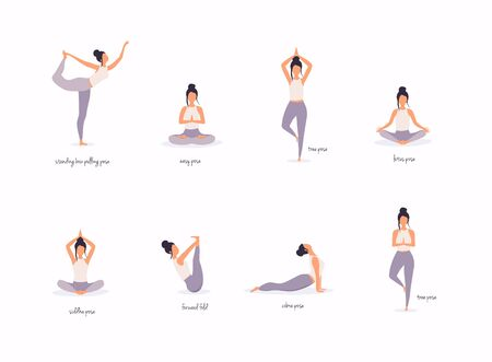 Woman in various poses of yoga. Shapes of woman doing yoga fitness workout. Set of yoga positions. Stock Illustratie
