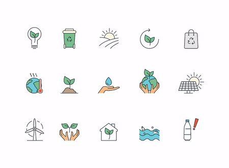 Simple Set of Eco Related Vector Line Icons. Global Warming, climate change and other Ecology Problems.