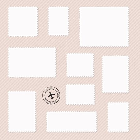 Set of post marks different size in white color. Vector illustration. 일러스트