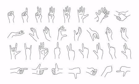 Hands in various gestures. Line design. Flat design modern vector illustration concept. Çizim