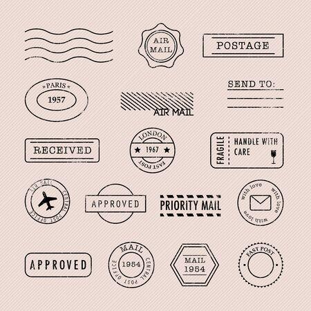 Satz Briefmarkensammlung. Vektor-Illustration. Vektorgrafik
