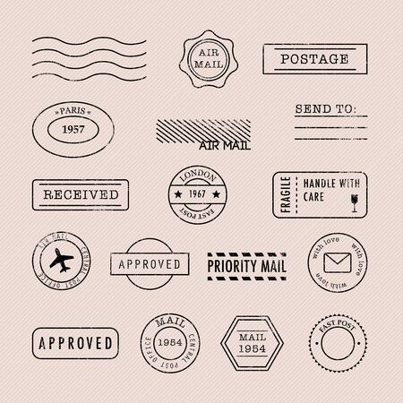 Set of postage stamps collection. Vector illustration.