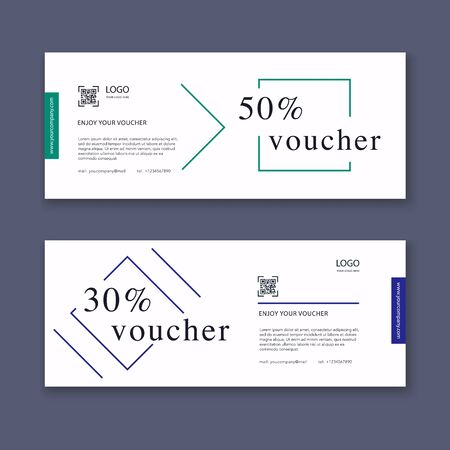 Voucher template with color gift box, certificate. Background design coupon, invitation, currency. Vector illustration.