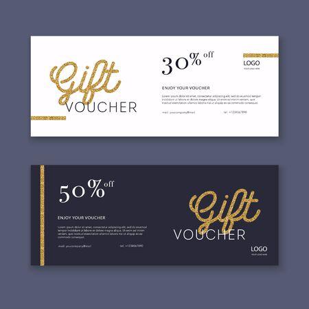 Vouchersjabloon met kleur geschenkdoos, certificaat. Achtergrondontwerp coupon, uitnodiging, valuta. Vector illustratie.