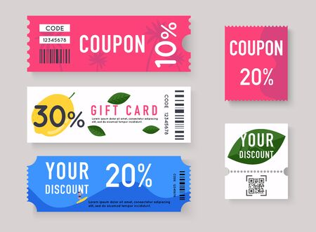 Vector Gift Voucher with Coupon Code. Sale labels with discount numbers.